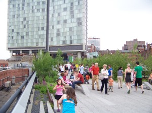 The south end of the park. The building in the background is the Standard Hotel. The High Line will be a boost to that part of New York.