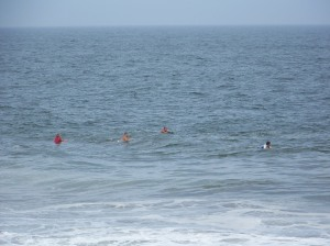 Boogie boarders waiting for the next wave
